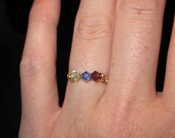 Wire Wrapped Gold Ring MADE to ORDER With Swarovski Crystals