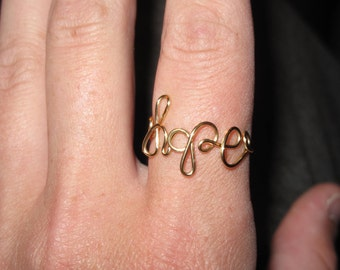 Wire Wrapped HOPE Spelled Ring MADE to ORDER