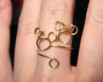 Wire Wrapped Minnie and Mickey Adjustable Ring