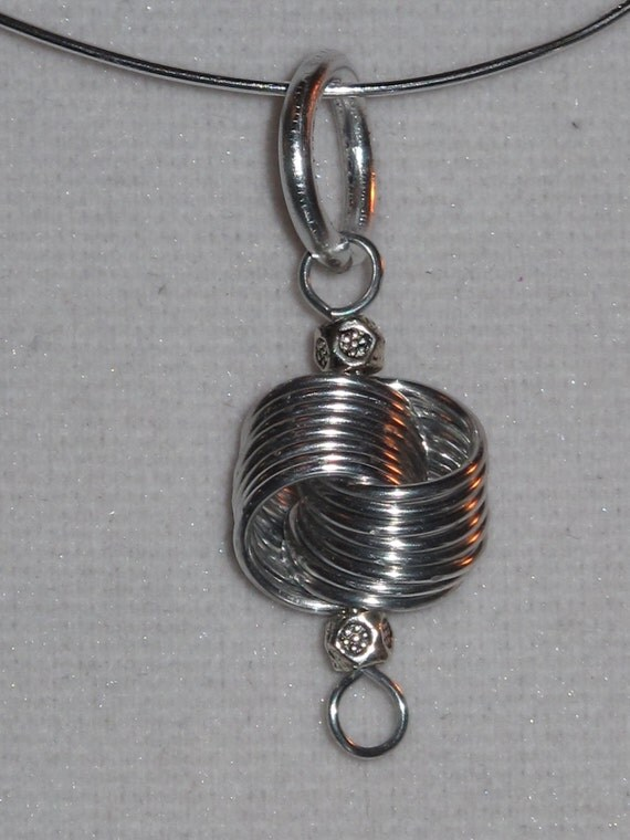 Wire Wrapped Silver Color Coil Pendant With Small Silver Beads