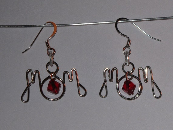 Wire Wrapped Mom Earrings With Your Choice Color Birthstones MADE to ORDER
