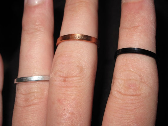 Wire Wrapped Flat Single Band Knuckle Or Regular Size Ring MADE to ORDER