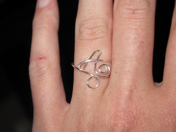 Wire Wrapped Single Initial MADE TO order Adjustable Ring