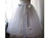 White Bridal Tutu - Romantic Ballerina Tulle Skirt with Satin Lining and Sash by Anjou - Whimsical Wedding, Party, Formal