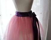 Sample Sale Cotton Candy Tutu - 4 Layer Romantic Ballerina Tulle Skirt with Lining and Satin Sash by Anjou - Whimsical Wedding, Formal