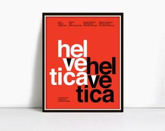 11x14 Inch Suisse Swiss Helvetica Type Specimen Poster, Color: Orange.