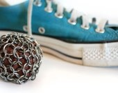 Hacky Sack Stainless Steel Chianmaille Filled With Recycled Leather