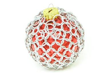 Christmas Tree Ornament Red Glass And Chainmaille