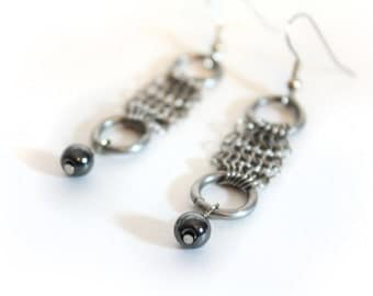 Chainmaille Earrings With Hematite Beads