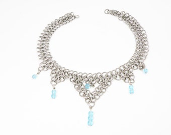 Something Blue Beaded Chainmaille Necklace Choker