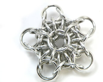 Christmas Star Ornament Handmade Unique Chainmaille Design