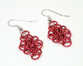Red Christmas Earrings Handmade From Anodized Aluminum Chainmaille