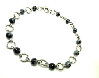 Ankle Bracelet Snowflake Obsidian Beads And Stainless Steel