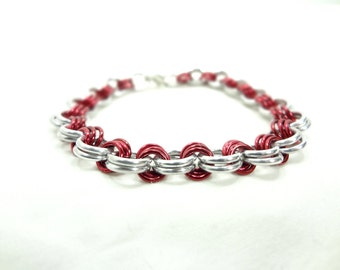 Chainmaille Bracelet Anodized Aluminum Red And White