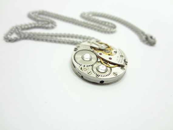 Steampunk Necklace Vintage Watch Movement From Waltham   USA With Swarovski Crystal