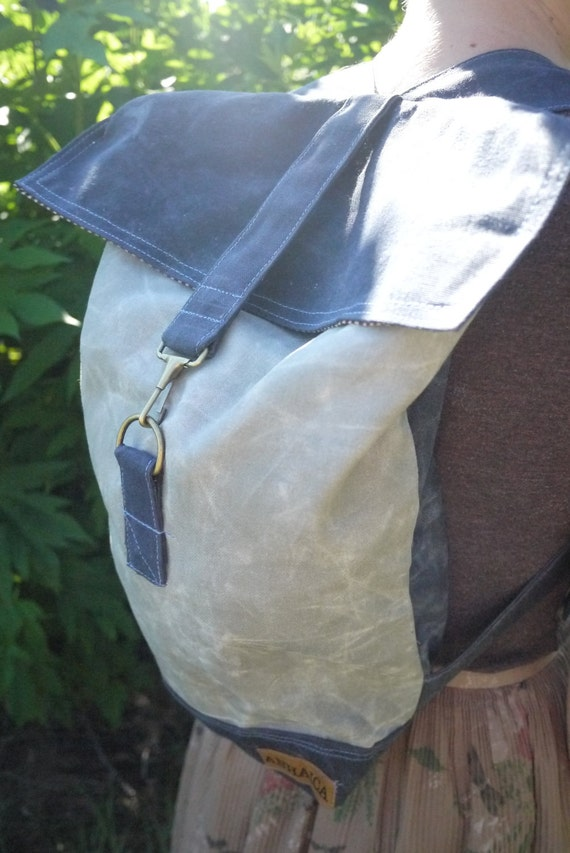 Blue and Grey Small Waxed Canvas Backpack, Day pack