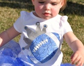 Team Spirit Boutique Style Tutu and Football Princess Tee - Blue, Silver/Grey and White - Newborn, Toddler, Youth