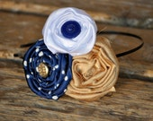 Team Spirit  Silk and Chiffon Rosette Headband/Clip - Navy Blue, Gold and White with Vintage Buttons -Made custom in your favorite team color combination