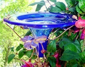 RETIREMENT Gift, stained glass, Hummingbird Feeder, copper, Cobalt Blue, Home Decor, Outdoor, housewares, stained glass