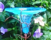 LAST-MINUTE GIFTS, Hummingbird Feeder, stained glass, copper, Aqua, fused glass, lawn ornament, housewares