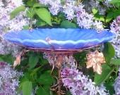 Gifts for Men, BIRD BATH, Garden, stained glass, copper, Cerulean BLUE, Home Decor, Housewares