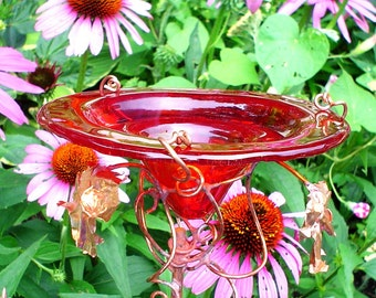 HOSTESS GIFT, Garden Butterfly Feeder, stained glass and copper, Red, Garden Art