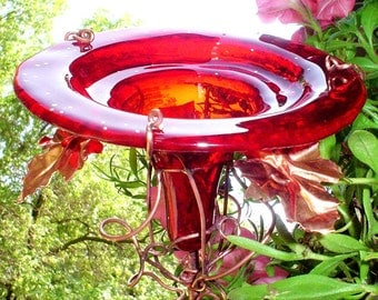 RESERVED...NFS....Garden under 40, HUMMINGBIRD Feeder, Garden gift, Bird Feeder, Red, stained glass, copper, 14K gold