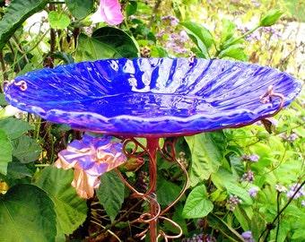 "BIRTHDAY Gift, Garden BIRD BATH, 8.25"" diameter, Bird Feeder, stained glass, fused glass, copper art, Cobalt Blue, Suncatcher"
