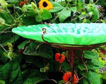 "FATHER'S DAY Garden Gift, Bird Bath, 8.25"" diameter, Bird Feeder, stained glass, fused glass, copper art, Green, Home Decor, Suncatcher"