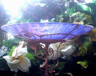 "Garden Art,  BIRDBATH, Bird Feeder, Iridescent, Smoky Violet, Stained Glass, Copper, 8.25"" diameter, Suncatcher"