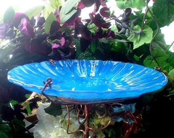 "WEDDING Gift, Stained Glass BIRD BATH, 8.5"" diameter, Teal Blue, fused glass, Copper Garden, Bird Feeder, Garden Art, Outdoor Living"