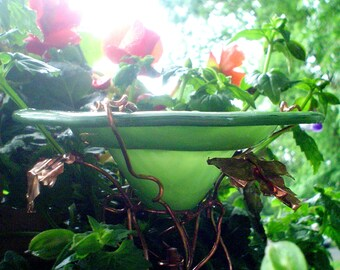 Copper and Stained Glass Art, BUTTERFLY FEEDER, Bird Feeder, Leaf Green, Outdoor Living, Garden Art