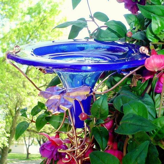 RESERVED for FIGLIO MIO, Glass hummingbird feeder replacement, copper, Cobalt Blue, Home Decor, Outdoor, housewares, stained glass