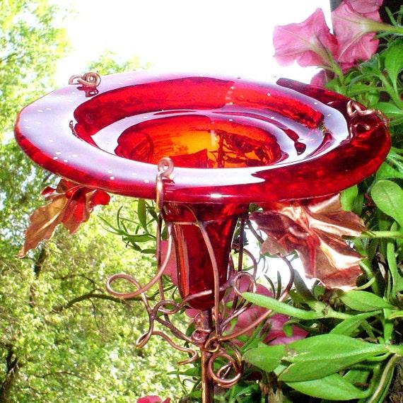RESERVED...NFS....Garden under 40, HUMMINGBIRD Feeder, Garden gift, Bird Feeder, Red, stained glass, copper, 14K gold