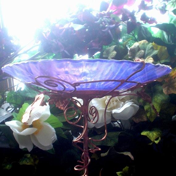"""Garden Art,  BIRDBATH, Bird Feeder, Iridescent, Smoky Violet, Stained Glass, Copper, 8.5"""" diameter, Suncatcher"""