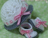 Baby Hat and Booties Crochet Patterns MY ANGEL BABY set digital