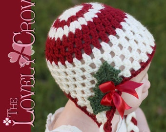 Christmas Baby Crochet PATTERN for Holly Earflap Beanie digital
