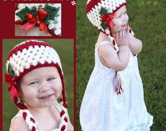 Hat Crochet PATTERN for Holly Earflap Beanie digital