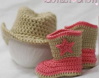 Cowboy Hat Boots Crochet Patterns. Includes patterns for Boot Scoot'n Boots and Boot Scoot'n Cowboy Hat digital