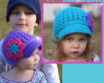Baby Newsboy Beanie Crochet Pattern   LITTLE SPORT NEWSBOY hat digital