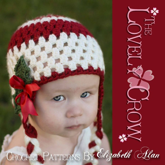 Holiday Hat Crochet PATTERN for Holly Earflap Beanie digital
