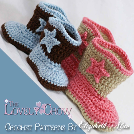 Boots Crochet Pattern Cowboy  for Baby BOOT SCOOT'N BOOTS digital