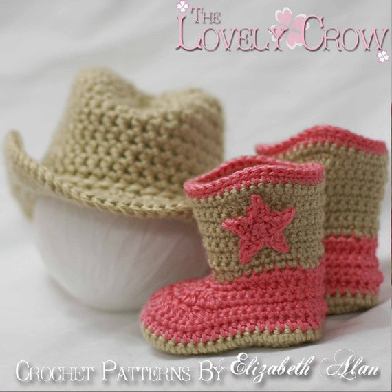 Country Western  Crochet Patterns. Includes patterns for Boot Scoot'n Boots and Boot Scoot'n Cowboy Hat digital