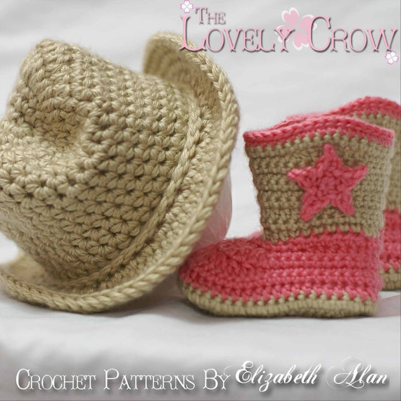 Crochet Patterns Cowboy Set. Includes patterns for Boot Scoot'n Boots and Boot Scoot'n Cowboy Hat