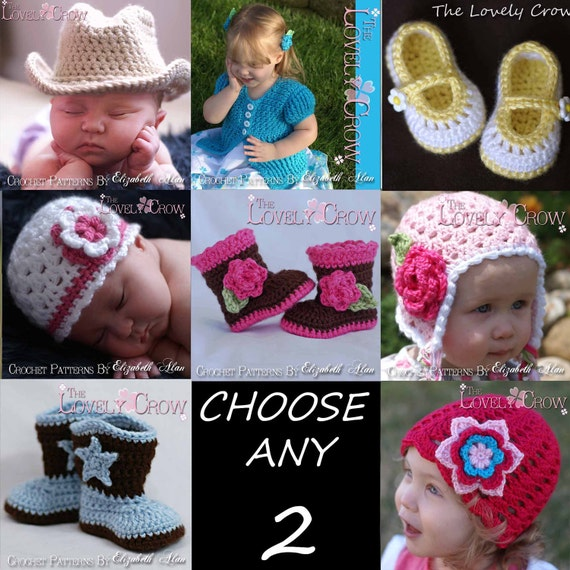 Child  Crochet Patterns  CHOOSE ANY TWO patterns from The Lovely Crow