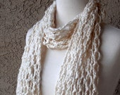 Organic Ivory Cotton Hand Knit Lace Scarf, Handmade Scarves, Eco-Friendly, Vegan