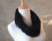 Black Deluxe Jersey Loop Scarf, Handmade, Circular, Infinity
