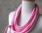 Two Shades of Pink Jersey Scarf, Multicolored, Circular, Infinity, Cowl, Tee Shirt Scarf Necklace