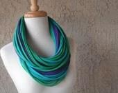 Bejeweled Peacock Deluxe Jersey Loop Scarf, Royal Purple, Teal Blue, Jade Green, Infinity
