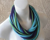 Infinity Scarf Pretty Peacock Jersey T Shirt Fabric Scarf Necklace, Purple, Lime Green, Turquoise Blue